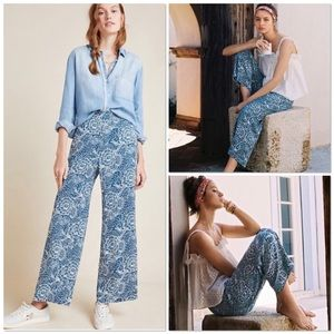Maeve blue motif viscose palazzo pants w/pockets M